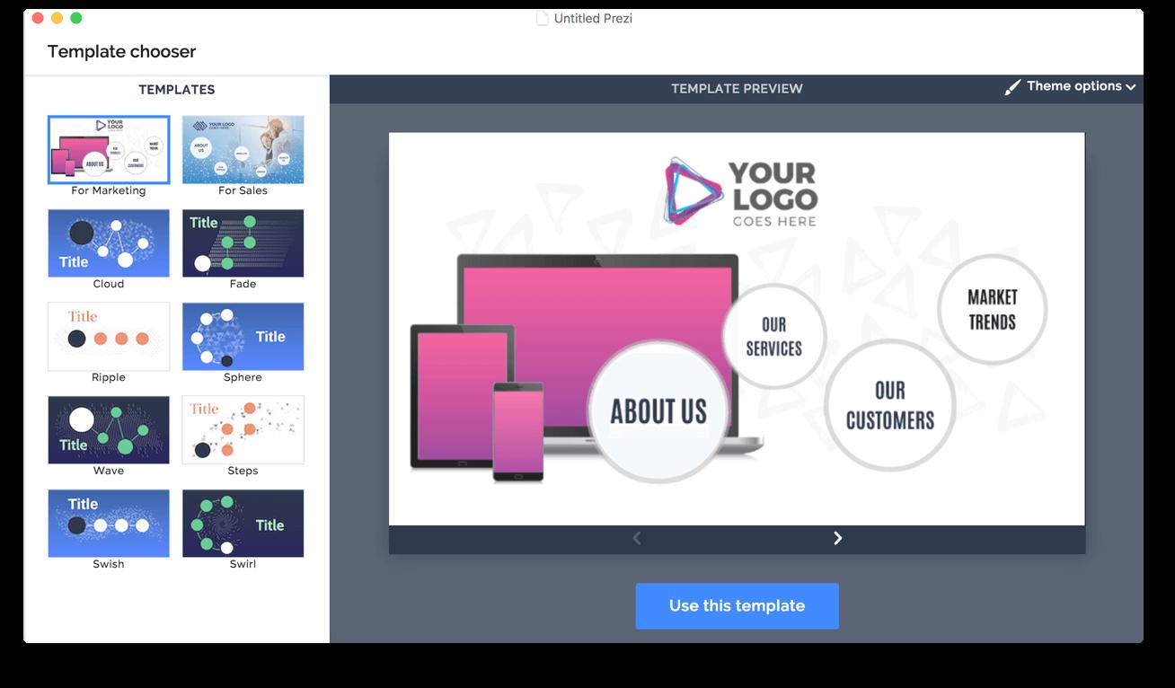 Marketing Template Screenshot